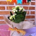 Vasos de flores decorados.